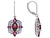 Raspberry Color Rhodolite Rhodium Over Sterling Silver Earrings 3.93ctw