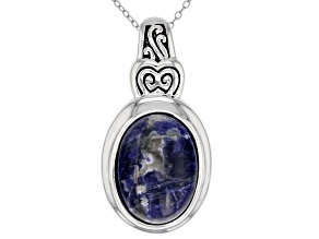 Blue Sodalite Silver Pendant With Chain