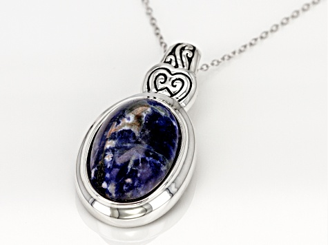 Blue Sodalite Silver Slide With Chain