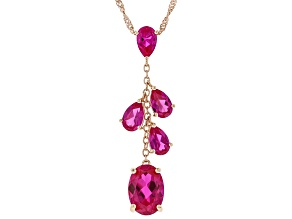 Pink lab created sapphire 18k rose gold over silver pendant with chain 7.82ctw