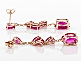 Pink lab created sapphire 18k rose gold over silver earrings 11.05ctw
