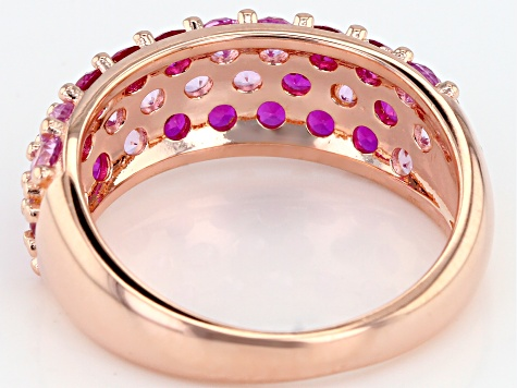 Pink lab created sapphire 18k rose gold over silver ring 2.11ctw