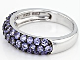 Blue tanzanite rhodium over silver band ring 1.25ctw
