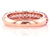 Pink lab sapphire 18k rose gold over silver band ring 1.87ctw