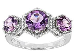 Purple Amethyst Rhodium Over Silver Ring 1.81ctw
