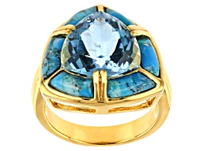 Sky blue topaz 18k yellow gold over silver ring 5.70ct