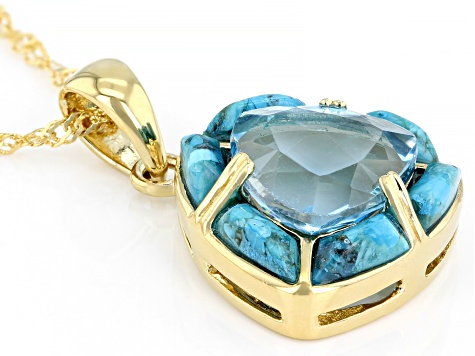 Sky Blue Topaz 18k Yellow Gold Over Silver Pendant with Chain 5.70ct