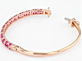 Pink Lab Created Pink Sapphire 18k Rose Gold Over Silver Bracelet 6.32ctw