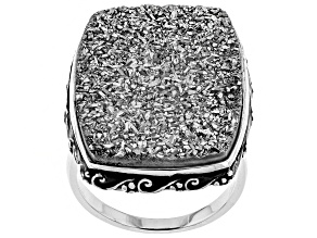 Platinum Color Drusy Quartz Rhodium Over Sterling Silver Ring
