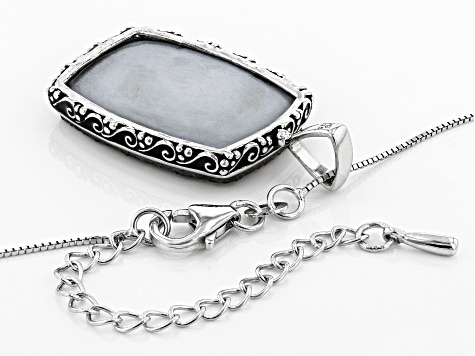 Platinum Color Drusy Quartz Rhodium Over Sterling Silver Pendant with Chain