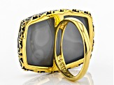 Golden Color Drusy Quartz 18k Yellow Gold Over Sterling Silver Ring