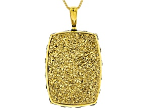 Golden Color Drusy Quartz 18k Yellow Gold Over Sterling Silver Pendant with Chain