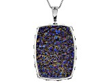 Peacock Color Drusy Quartz Rhodium Over Sterling Silver Pendant with Chain