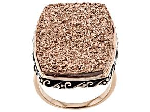 Rose Color Drusy Quartz 18k Rose Gold Over Sterling Silver Ring