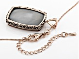 Rose Color Drusy Quartz 18k Rose Gold Over Sterling Silver Pendant with Chain