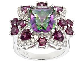 Multi-color quartz rhodium over silver ring 6.54ctw
