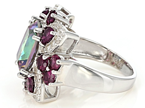 Multi-color quartz rhodium over silver ring 6.54ctw
