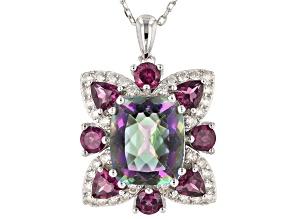 Multi-color quartz rhodium over sterling silver pendant chain 5.83ctw