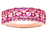 Pink lab sapphire 18k rose gold over silver ring 1.79ctw
