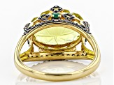 Yellow canary quartz 18k gold over silver ring 6.27ctw