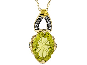 Picture of Yellow canary quartz 18k gold over silver slide with chain 5.75ctw