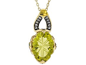 Yellow canary quartz 18k gold over silver pendant with chain 5.75ctw