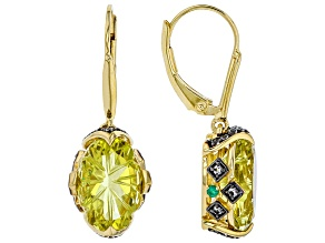 Yellow canary quartz 18K gold over silver earrings 6.06ctw