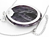 Purple Amethyst rhodium over sterling silver enhancer with chain