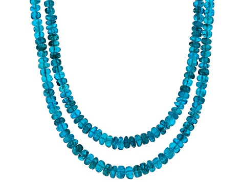 Blue neon apatite sterling silver necklace