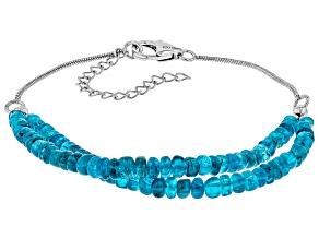 Blue neon apatite sterling silver bracelet