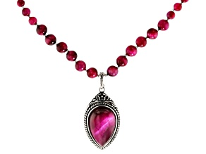 Pink Tiger's eye sterling silver necklace with enhancer
