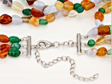 Multi-gemstone silver necklace