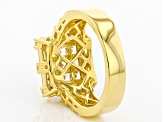 White zircon 18k yellow gold over silver ring 2.36ctw