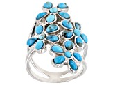 Blue turquoise sterling silver flower ring