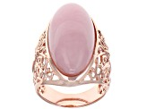 Pink opal 18k rose gold over silver ring