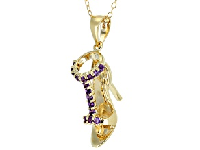 Purple amethyst 18k yellow gold over silver high heel pendant with chain .22ctw