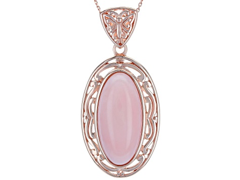 Pink opal 18k gold over silver pendant with chain