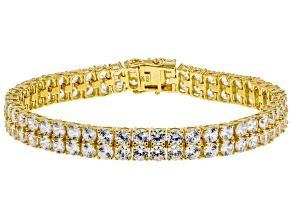 White zircon 18k gold over silver bracelet 24.00ctw