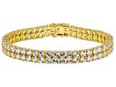 White zircon 18k gold over silver bracelet 24.00ctw