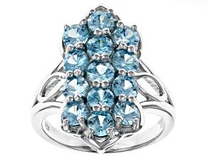 Blue zircon rhodium over silver ring 4.84ctw