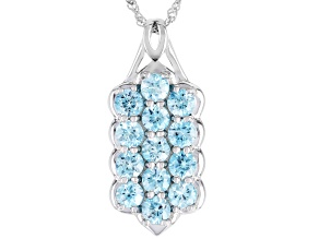 Blue zircon rhodium over silver pendant with chain. 4.77ctw
