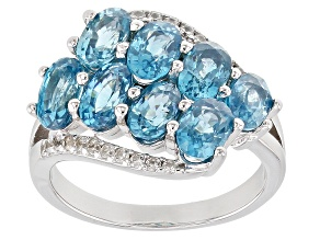 Blue zircon rhodium over silver ring 5.38ctw