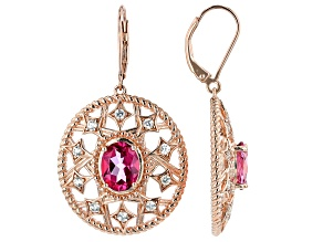 Pink topaz 18k rose gold over silver earrings 5.72ctw