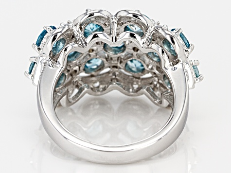 Blue zircon rhodium over sterling silver ring 4.39ctw
