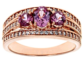 Pink Masasi Bordeaux Garnet™ 18k rose gold over silver ring 1.32ctw