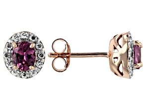 Pink garnet 18k rose gold over silver stud earrings .87ctw