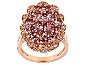 Pink Color Shift Garnet 18k Rose Gold Over Sterling Silver Ring 4.35ctw