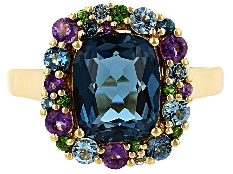 Blue topaz 18k gold over silver ring 3.61ctw