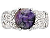 Purple Charoite rhodium over sterling silver ring .17ctw
