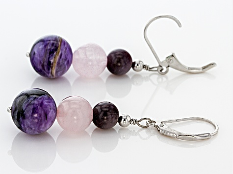 Purple charoite rhodium over sterling silver earrings